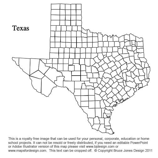 texas us state county map blank printable royalty free for presentations