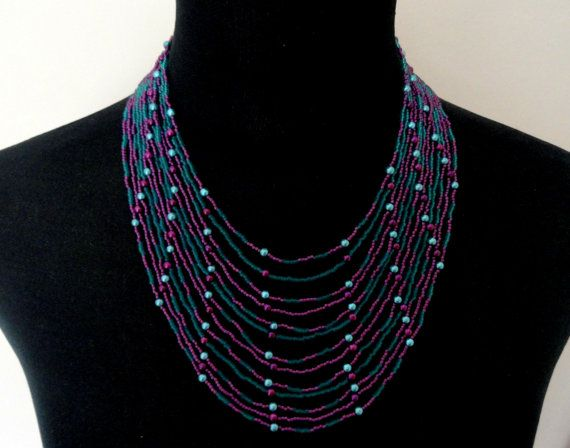 African style Zulu beaded multistrand necklace plum teal, Statement necklace, Gifts #africanstyleclothing