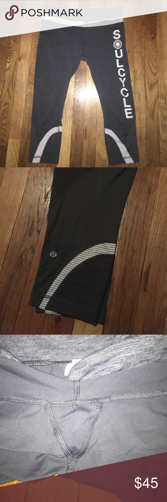 Soulcycle Lululemon Run Inspire Crop 2 Lululemon Run Inspire Crop 2 for Soulcycle. Grey with white stripe detailing. Perfect condition, very light pilling (see 3rd photo). No signs of wear except for cracking of letters on left leg. Hand washed, laid flat to dry. Never dried. No stains or rips. Pet free and smoke free home. lululemon athletica Pants