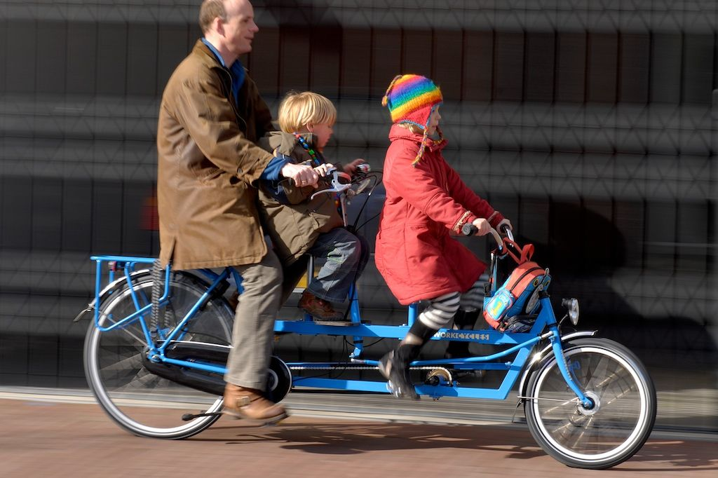 Onderwater Tandem With Extra Child Seat Bicycle Dutch Bike