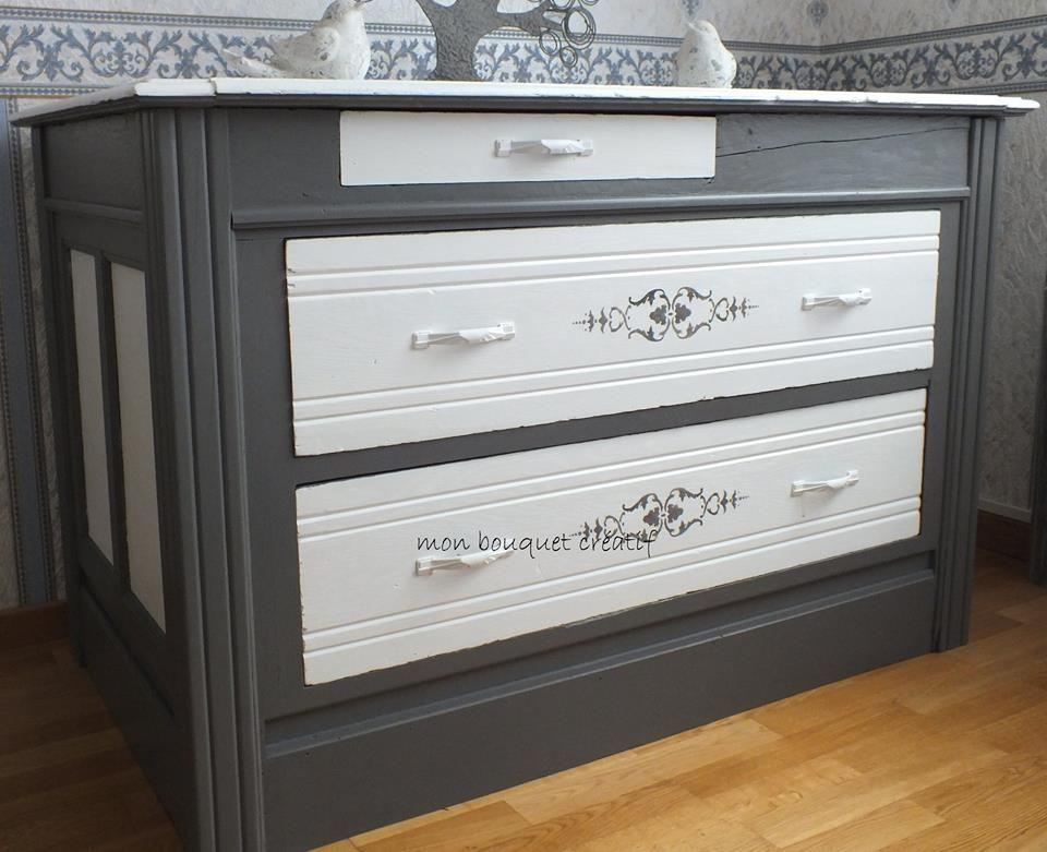 grande commode relook e avec les satinelles basalte meringue pochoir ed galement meubles. Black Bedroom Furniture Sets. Home Design Ideas