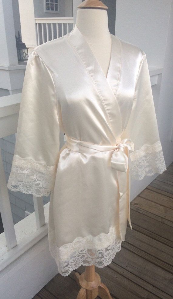 St. Tropez Brides robe, wedding robe-ivory or white Satin Robe with ...