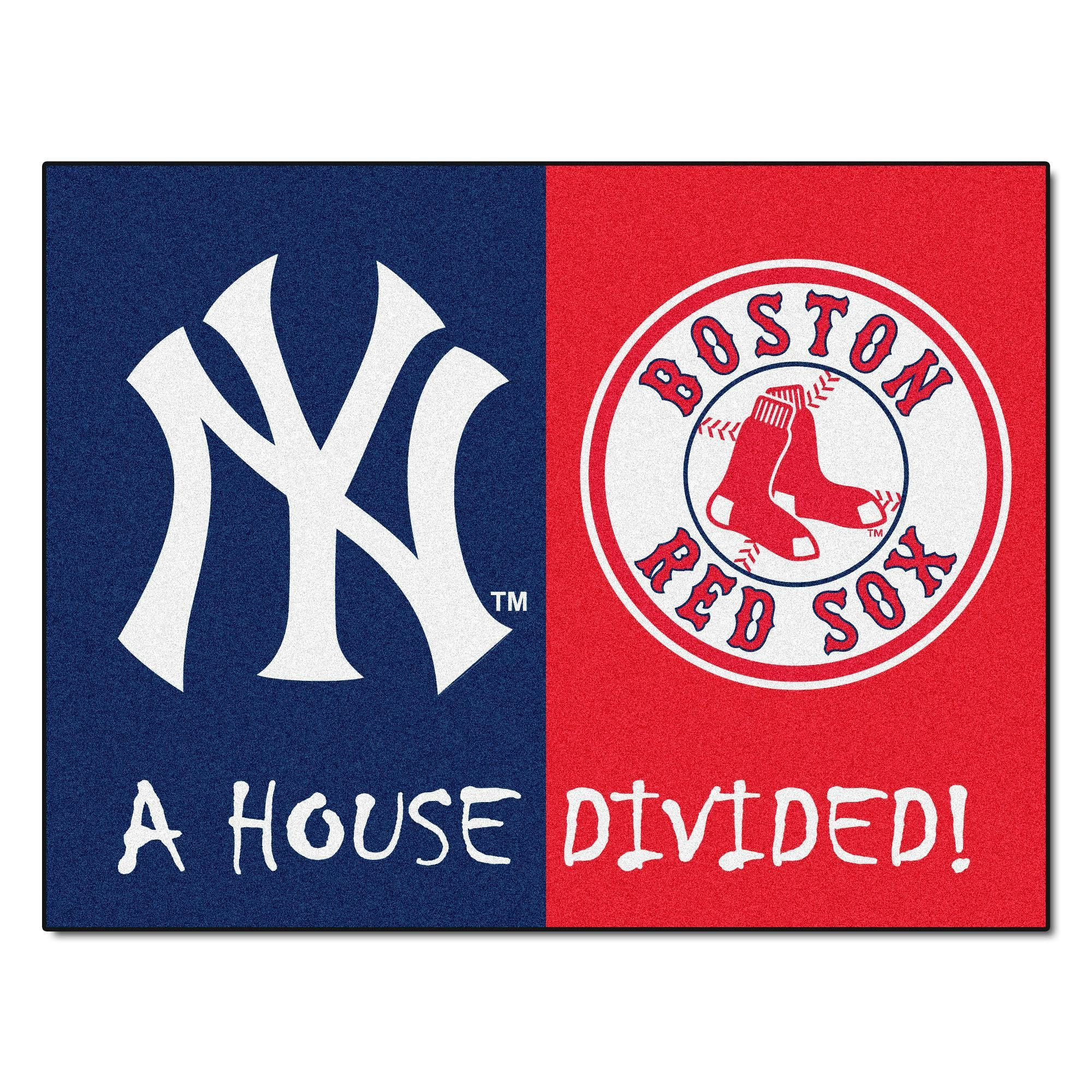New York Yankees Boston Red Sox House Divided Rugs 33 75x42 5