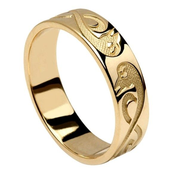 Le Cheile Celtic Yellow Gold Wedding Band Silver Wedding Bands Celtic Wedding Rings Yellow Gold Wedding Ring