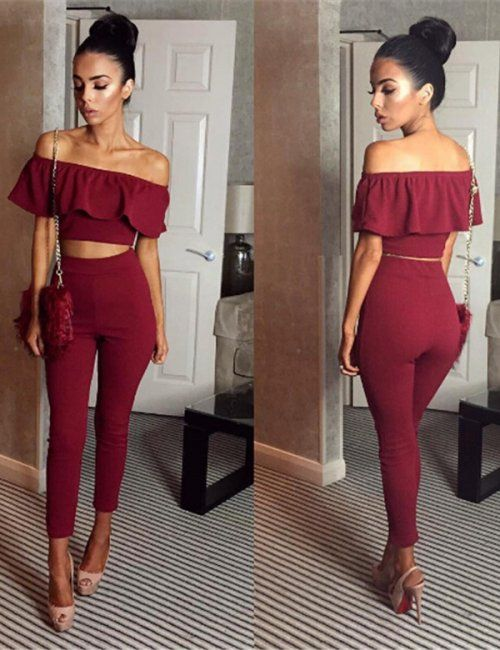 1a43f14f65212d This Peplum Top   High Waist Pencil Pants Two Piece Set is a great party  outfit idea for the fall and winter festive party season.