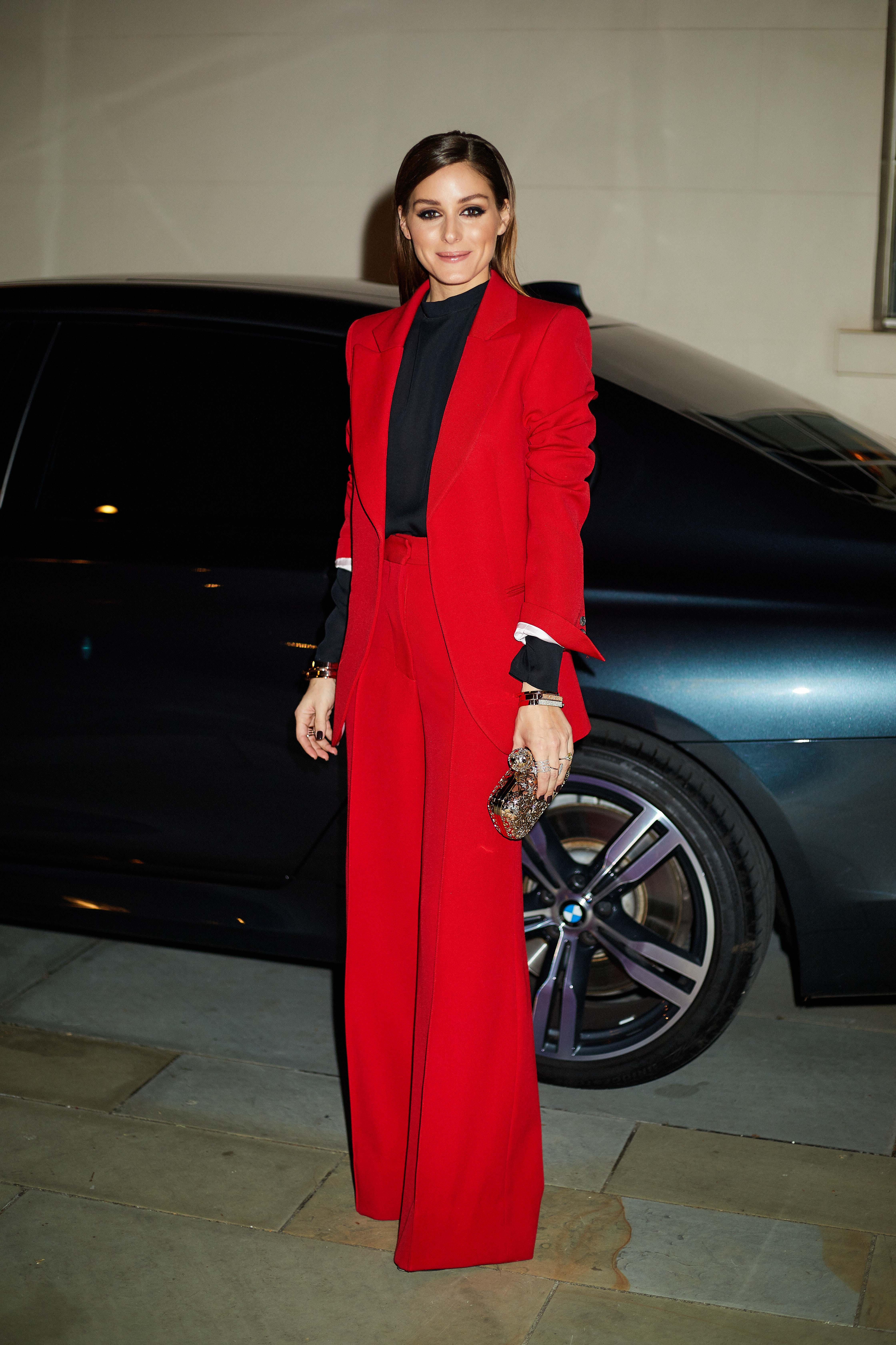 Little Red Suit By Victoria Beckham Fashion Olivia Palermo Outfit Style [ 6720 x 4480 Pixel ]