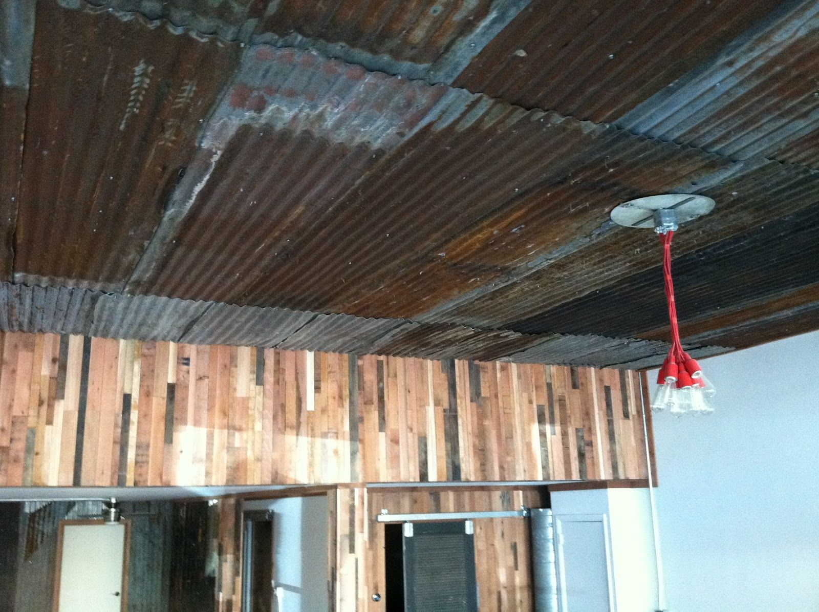 Images about corrugated metal on pinterest - Using Corrugated Metal For Ceiling The Coat Shop Building