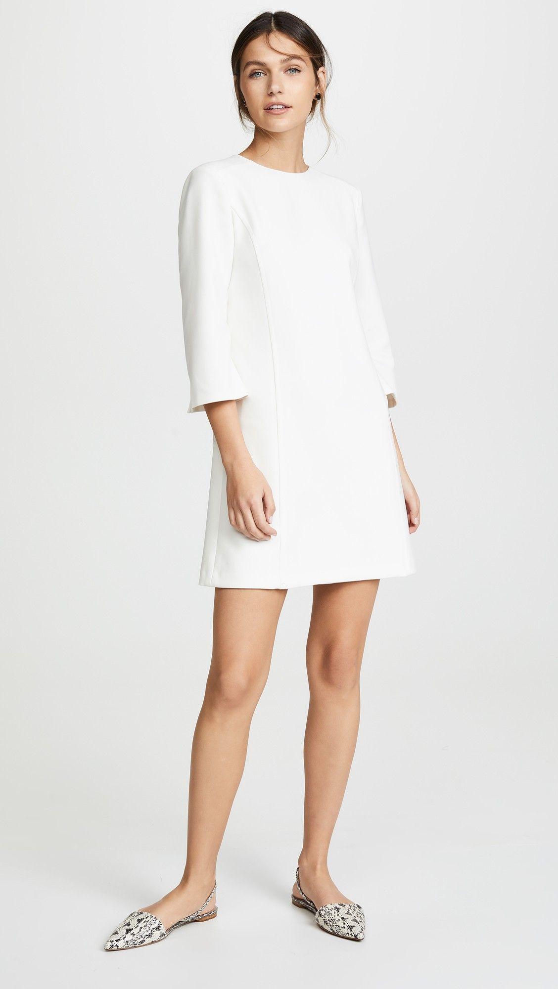 Alice Olivia Gem 3 4 Sleeve Shift Dress Shift Dress Day To Night Dresses White Shift Dresses [ 2000 x 1128 Pixel ]