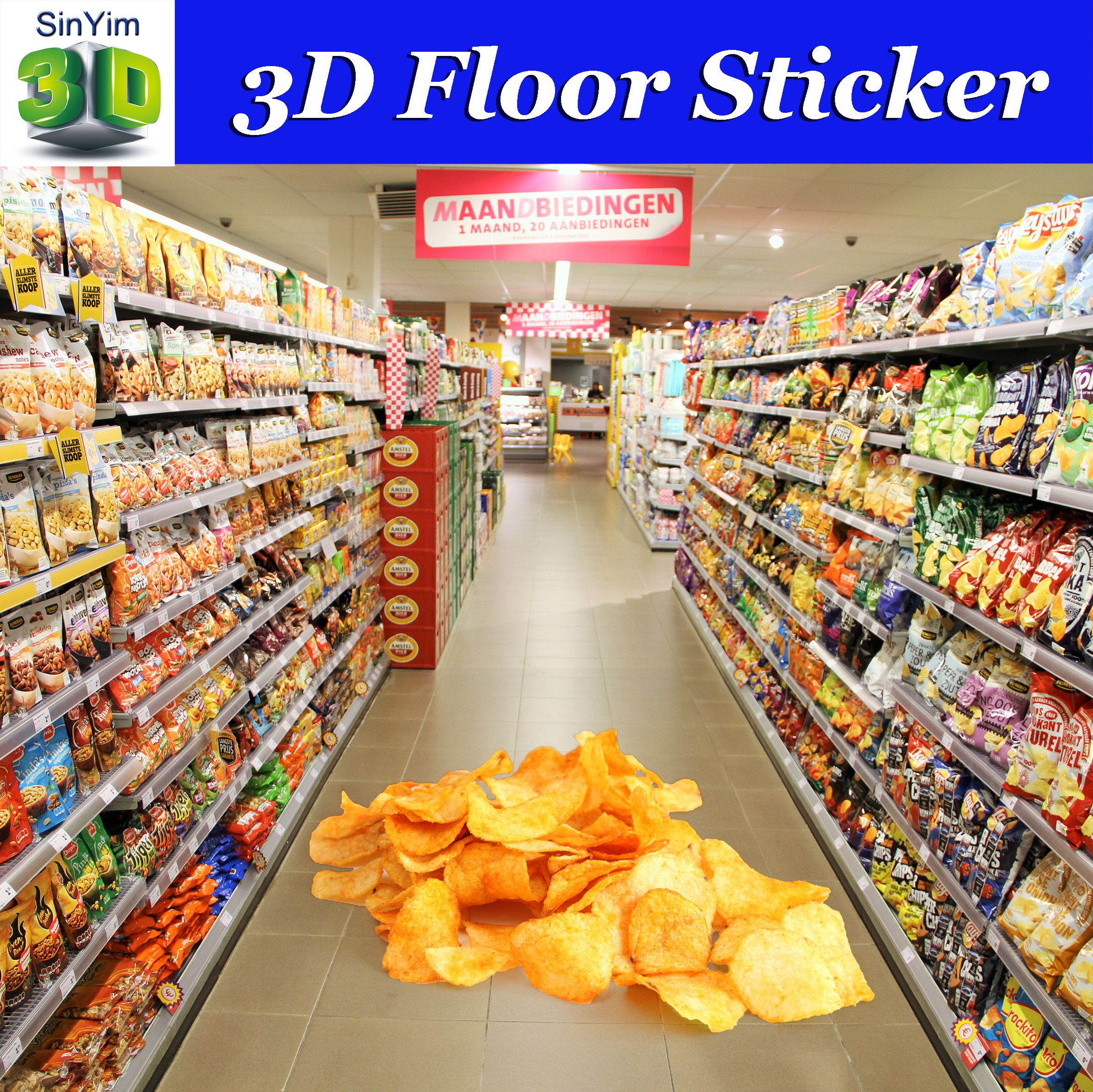Custom 3d floor stickers 3d floor decals 3d floor graphics for high impact in store advertising potato chips promotion