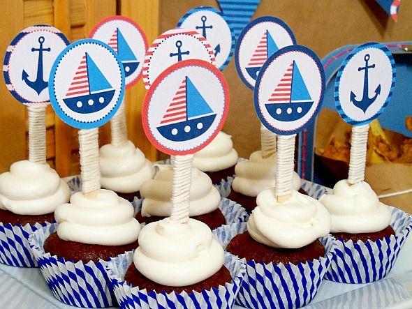 Free Printable Nautical Cupcake Toppers | Nautical Cupcake Toppers 125x125  Sail Away Nautical Party