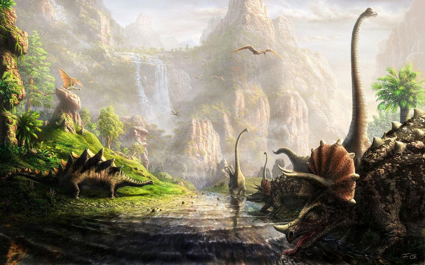 By Fel X Dinosaur Wallpaper Fantasy Landscape Fantasy Art