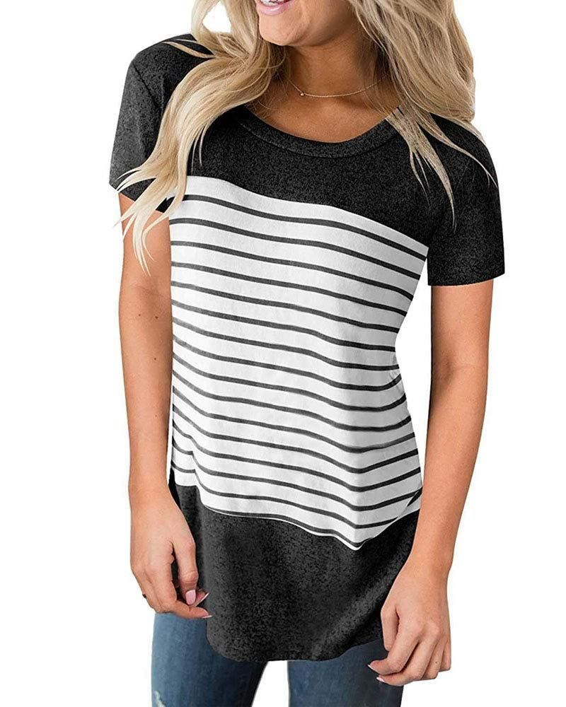 18b88ebb166 Womens Tops Long Sleeve T Shirt Color Block Varsity Striped Shirt Casual  Tunic Blouse price(