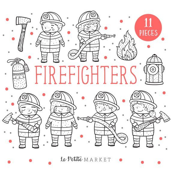 Cute Firefighter Clip Art Illustration Set Cute Firetruck Etsy Cute Firefighters Firefighter Clipart Clip Art