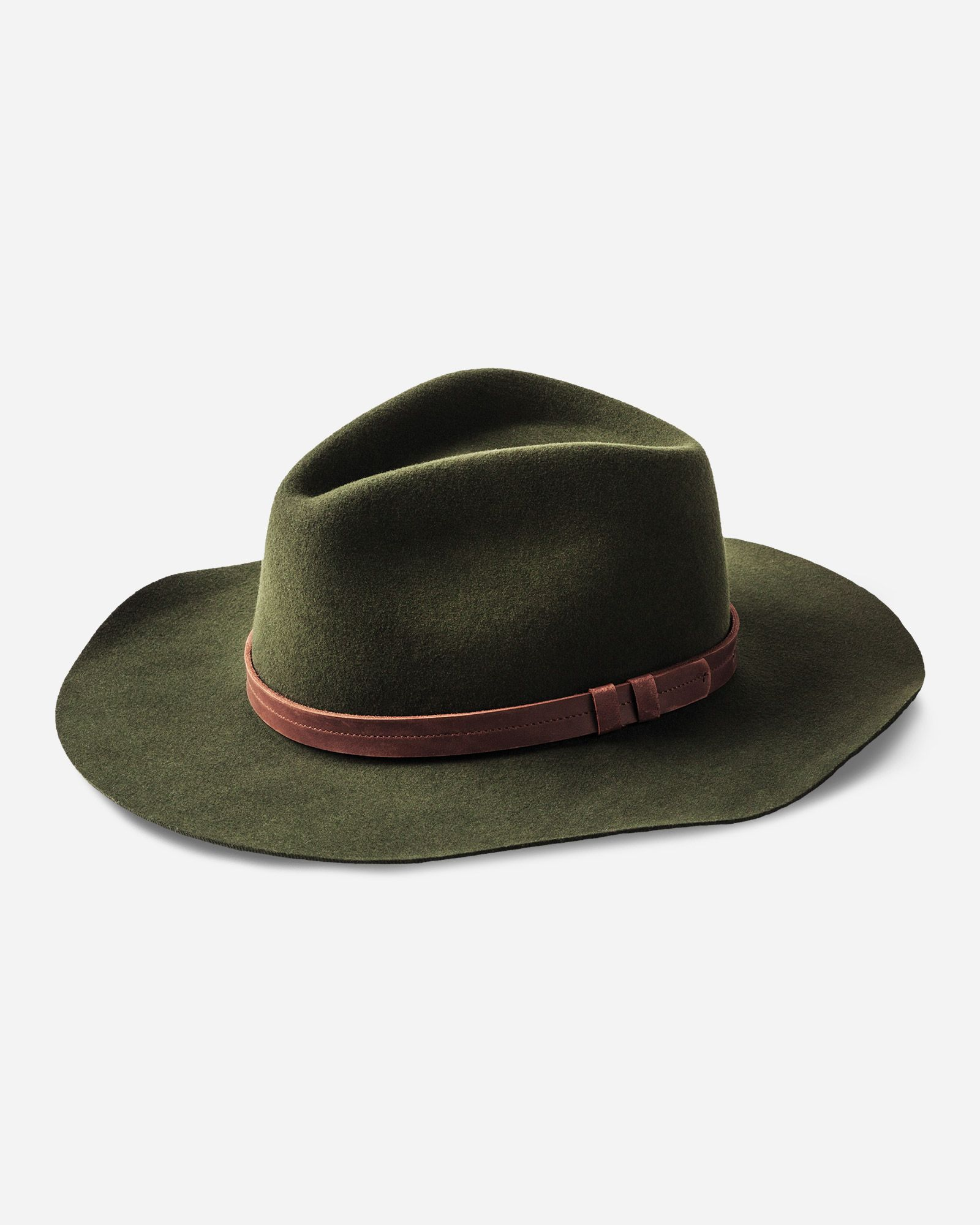 High quality brown wide brim 100/% wool felt fedora trilby hat X Large