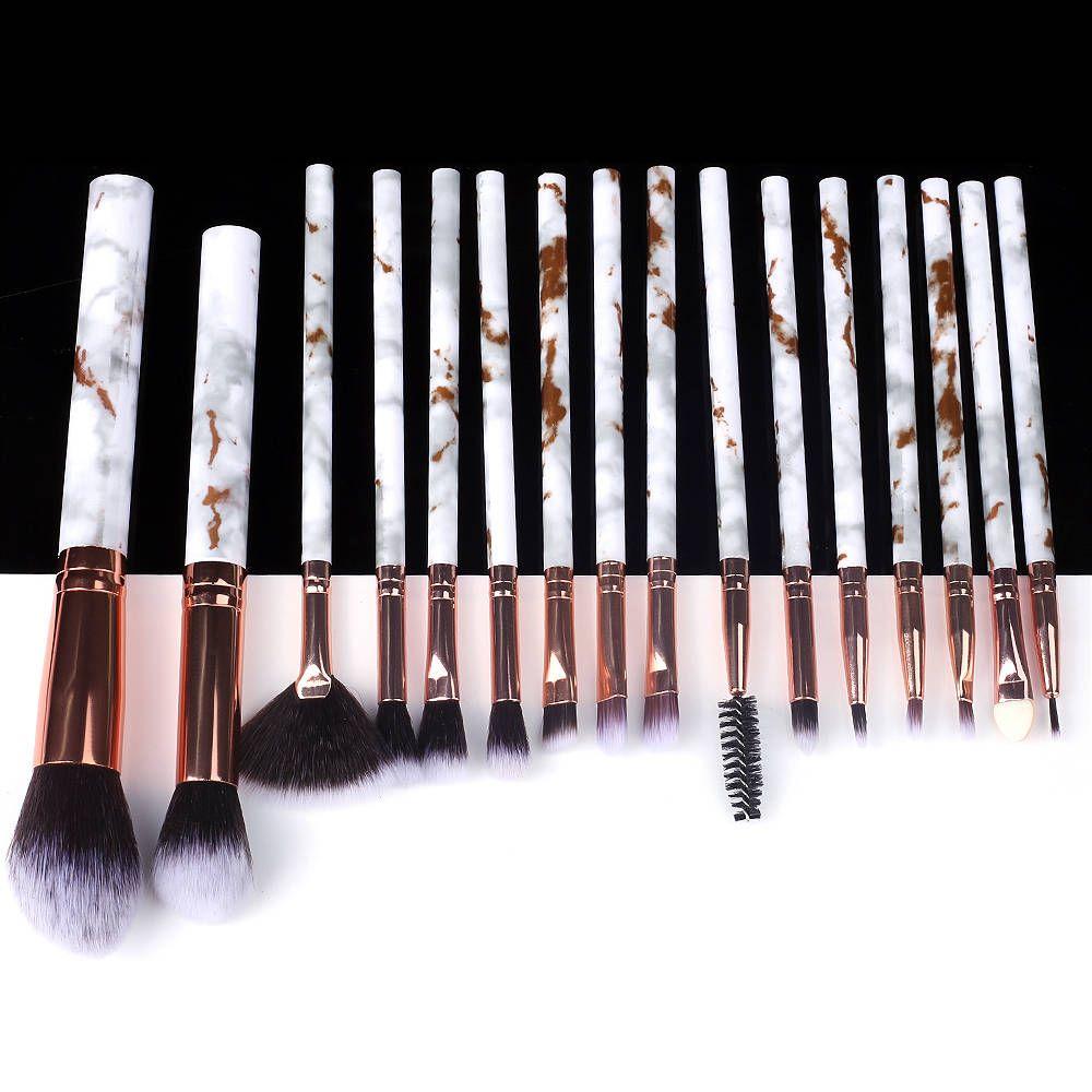 5/10/15 Stück Marmor Make-Up Pinsel Werkzeug Natürliche Pinsel Set Kit Professionelle Pulver Kleine Hohe Qualität Highlighter Lip Lidschatten – 15pcs-691
