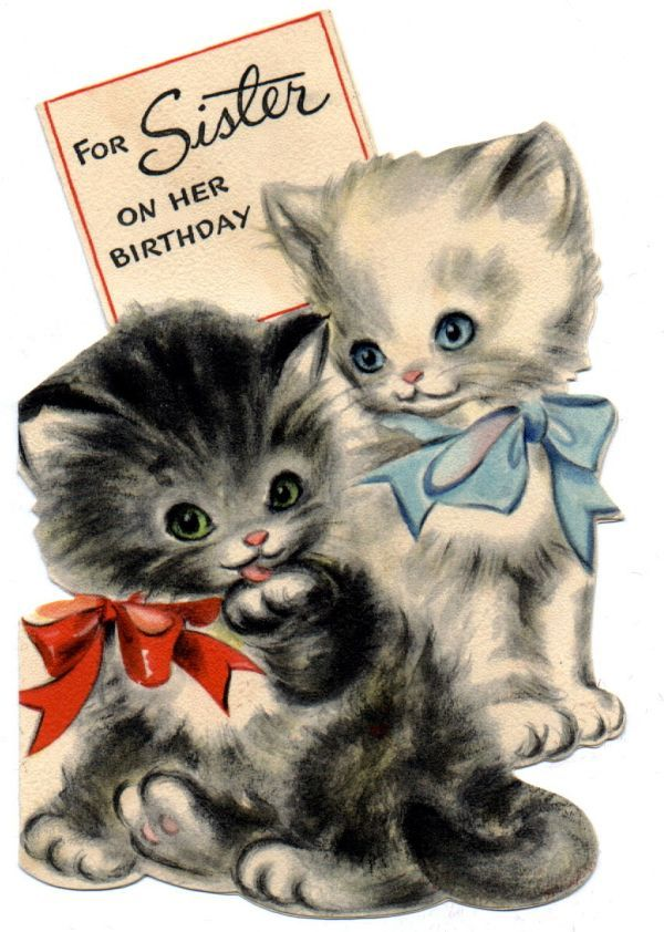 vintage card 2 kittens vintage birthday cards – Flash Greeting Cards for Birthday