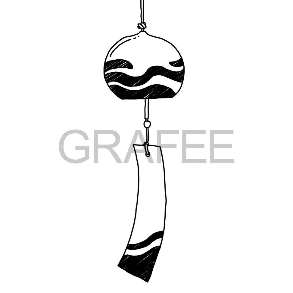 涼しげな風鈴のイラスト 風鈴 イラスト 風鈴 デザイン