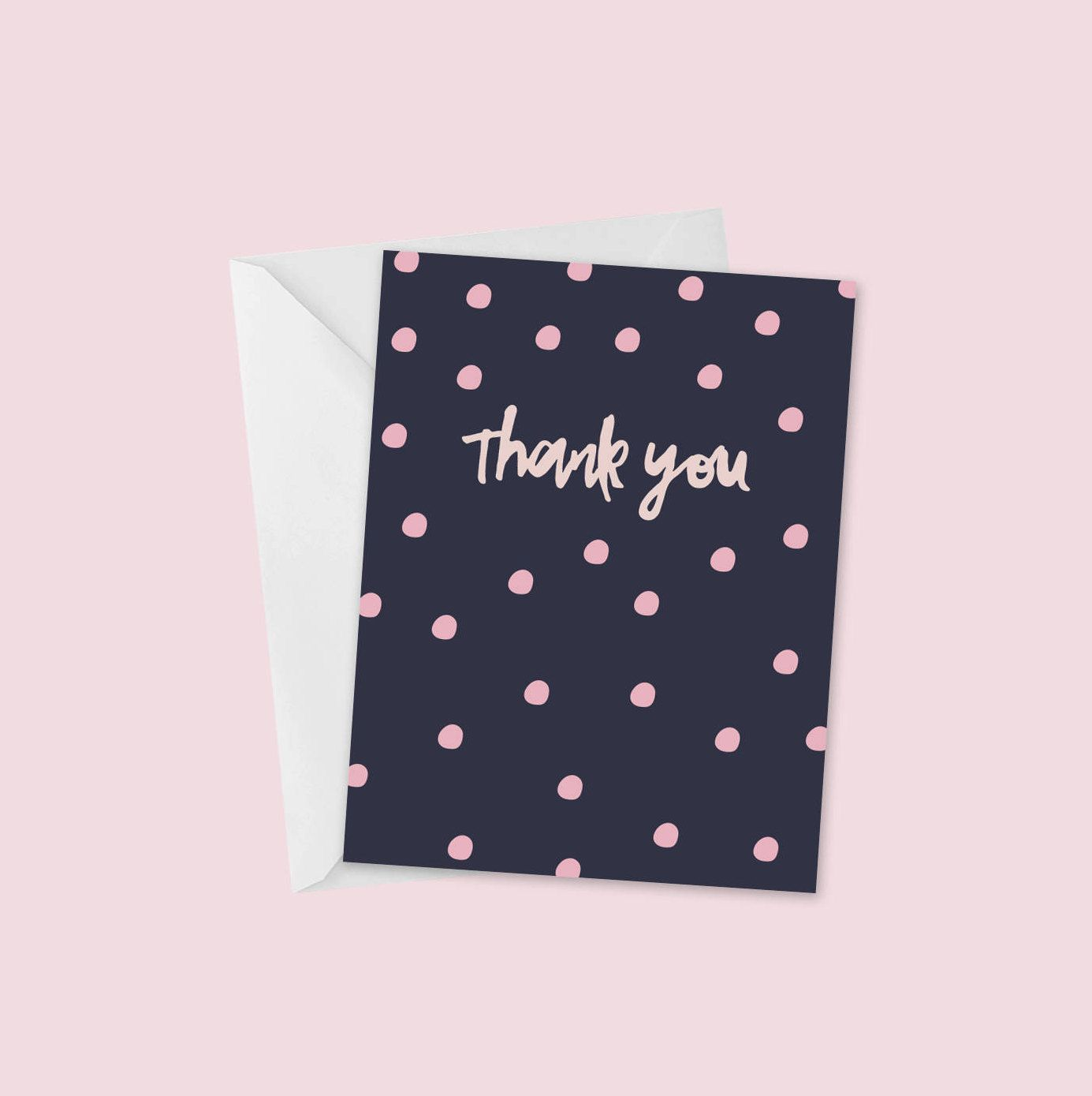 Set Of Four Pink And Navy A2 Thank You Greeting Cards Blank
