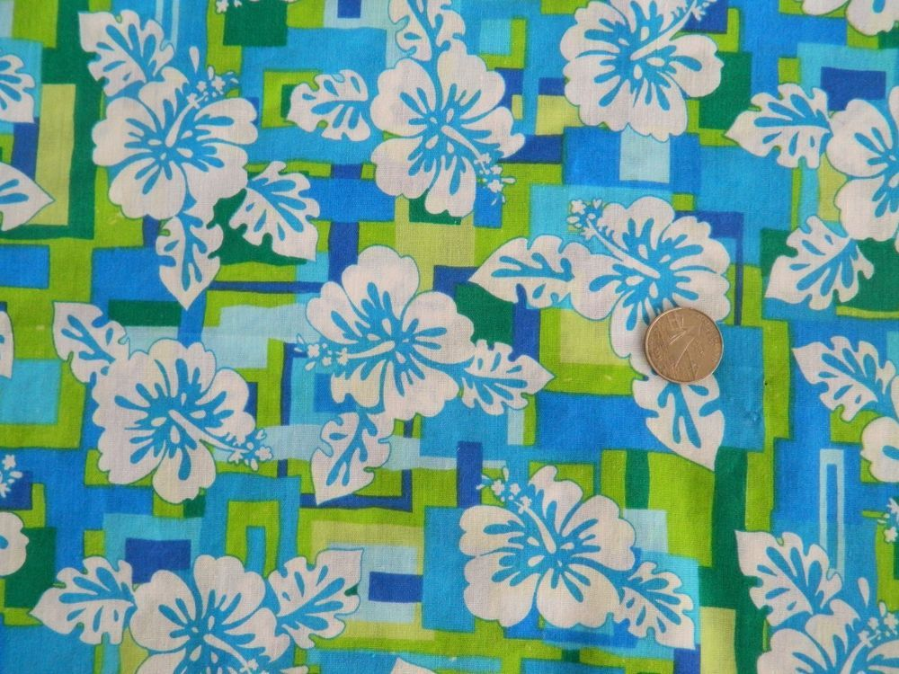 Sizzle Print II 5906 Springs Ind Cotton Fabric Blue Green Tropical Flower 62 SpringsIndustries