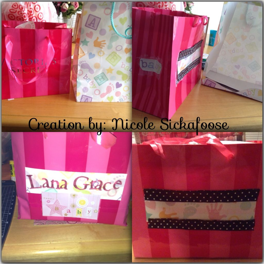 Baby Gift Baskets Victoria : Repurposed victoria s secret bag into a baby shower gift
