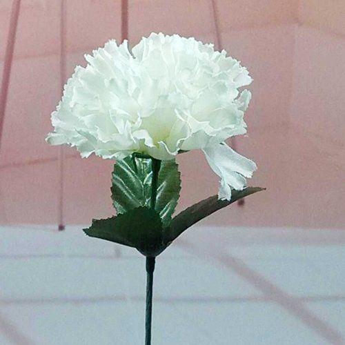 100 Carnations 15 Artificial Silk Flower Pick White Colour Artificial Flowers Decor Artificial Silk Flowers Flower Decorations Diy