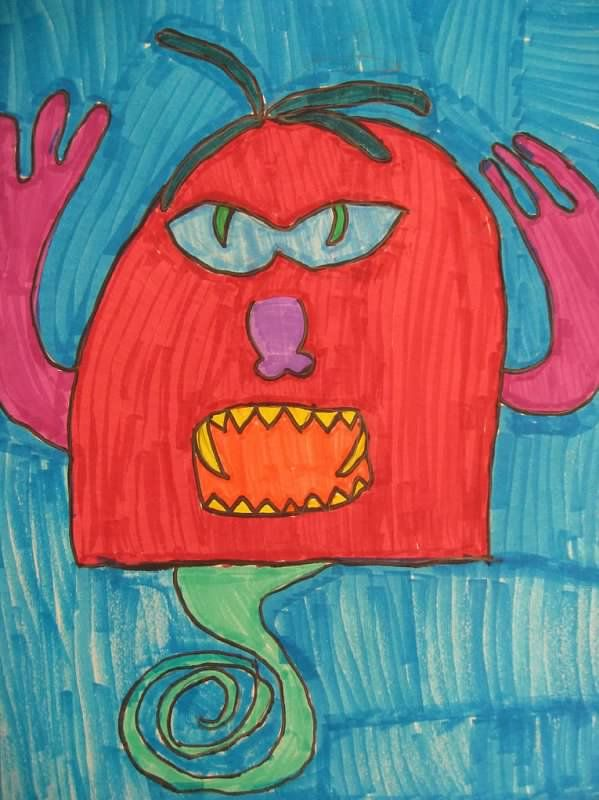 Lakeside Art - 3rd grade Halloween one day project, Roll a Monster ...