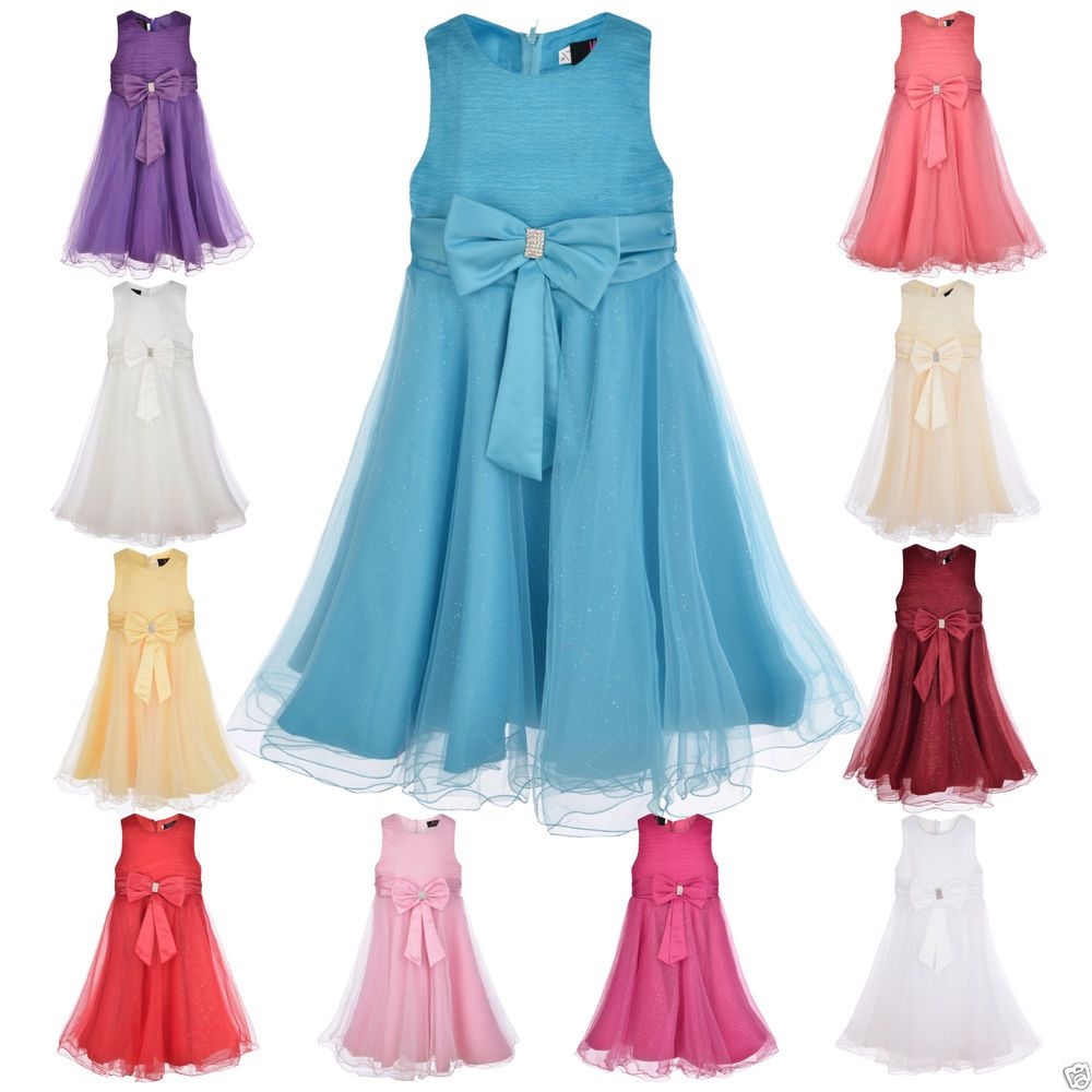 GIRLS Party Dress Flower Girl Wedding Bridesmaid Age 2 3 4 5 6 7 8 9 ...
