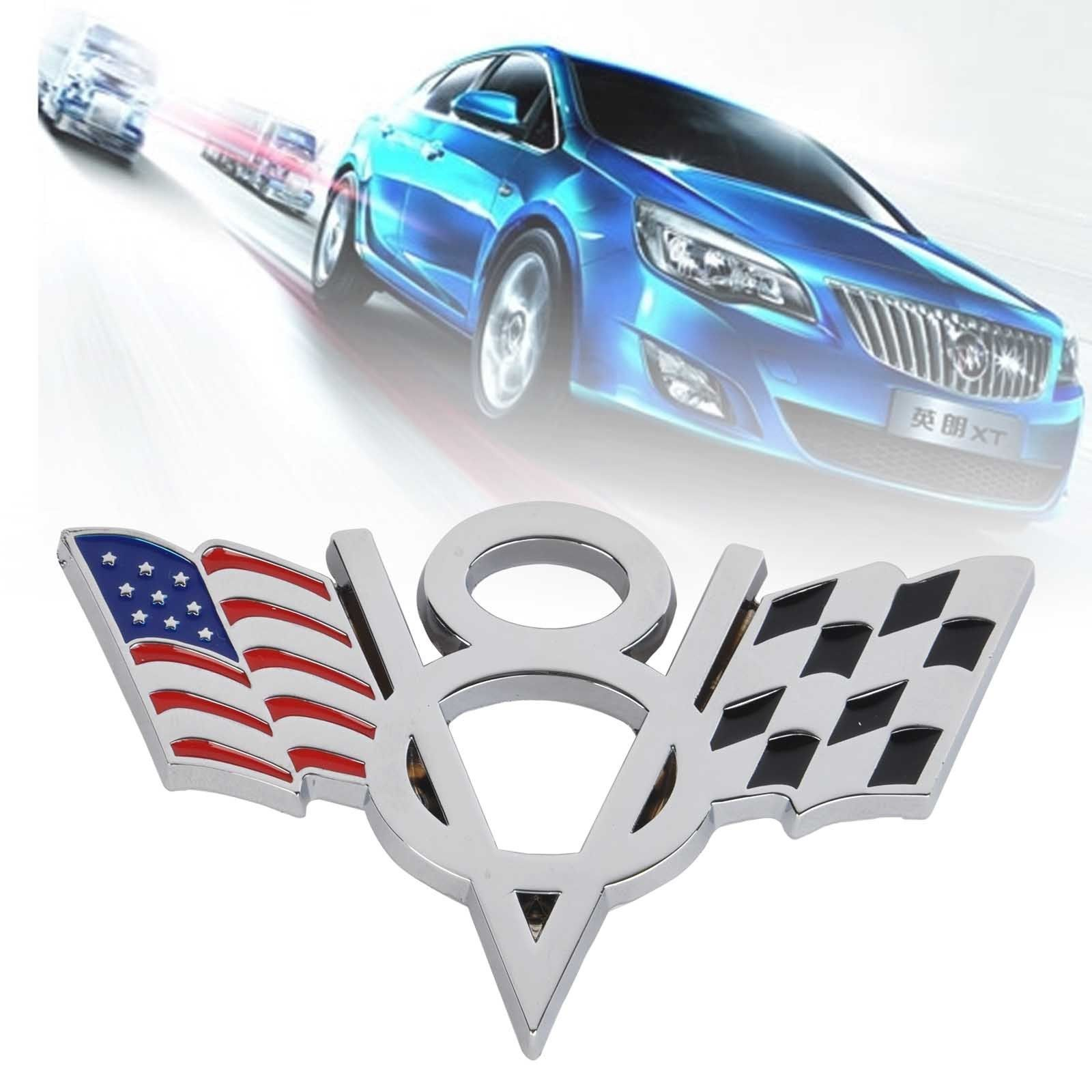 New Metal V8 American Flag Car Emblem Badge Sticker Decal