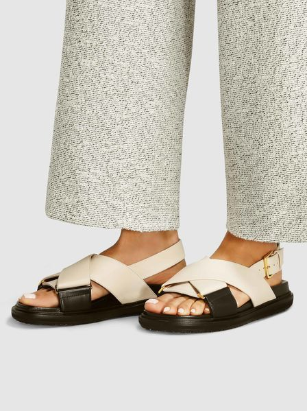 Crossover Leather Sandals,