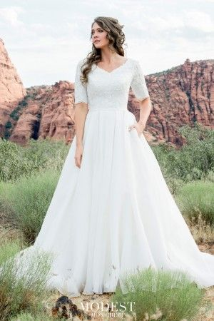 Modest Bridal by Mon Cheri TR12025 Pleated Skirt Wedding Gown