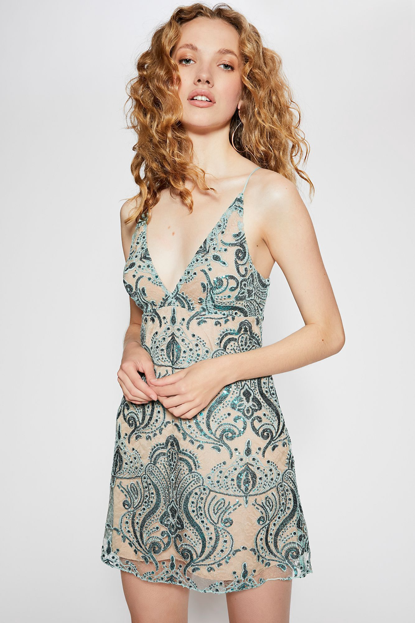 b0729ffb40 Free People Night Shimmers Mini Dress - Sundown Blue 12