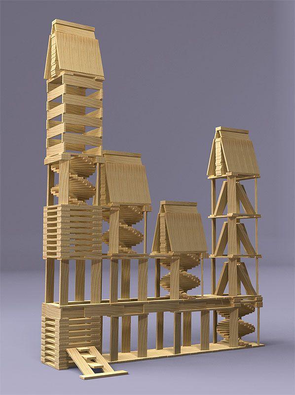 Edificio minimalista - kapla | Wood toys, Plank, Activities for kids