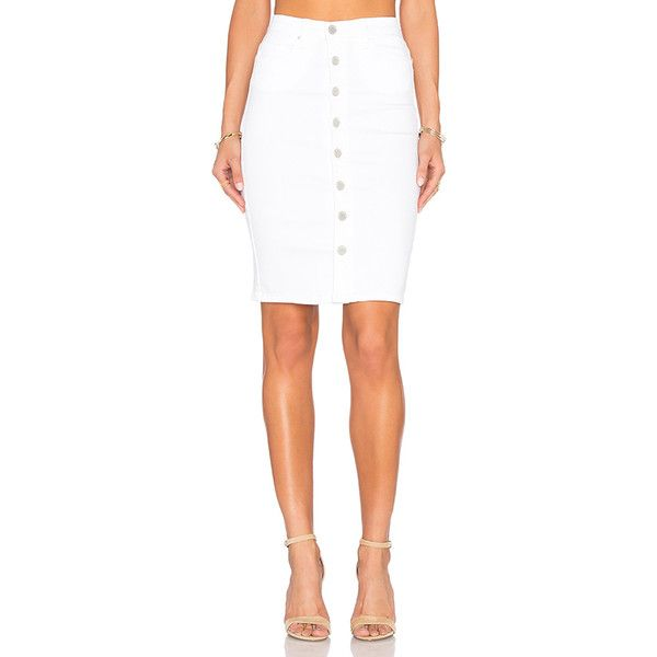 BLANKNYC Button Front Pencil Skirt Denim (105 CAD) ❤ liked on ...