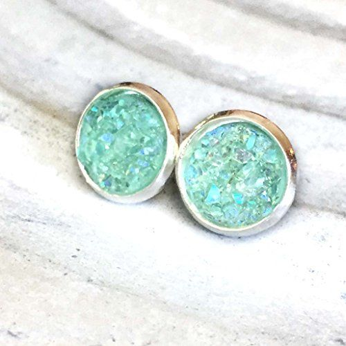 : D Handmade Jewelry 10mm Mint Green Iridescent Faux Druzy Stud Earrings, Bright…