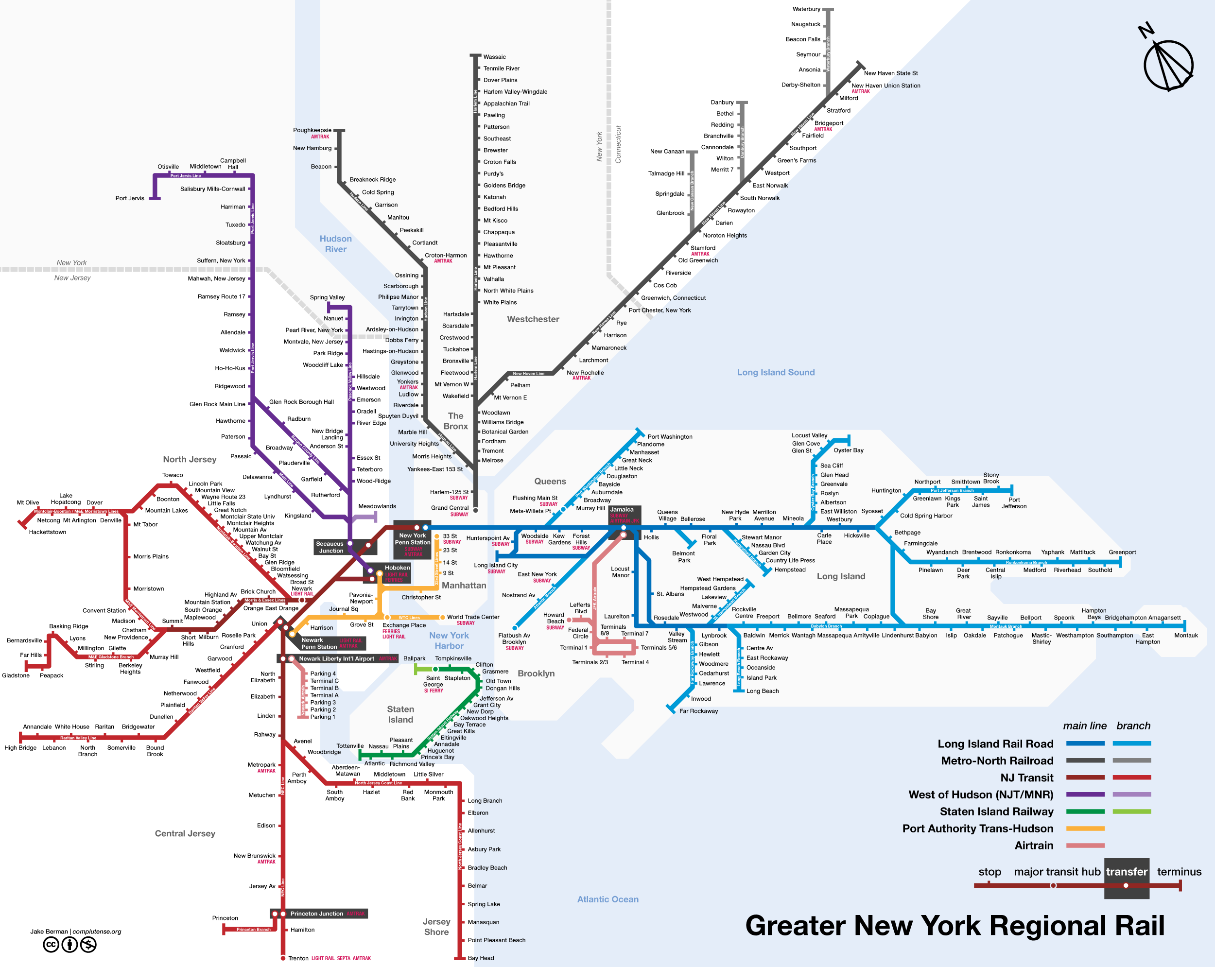 Map of New York City commuter trains New Jersey Upstate New York