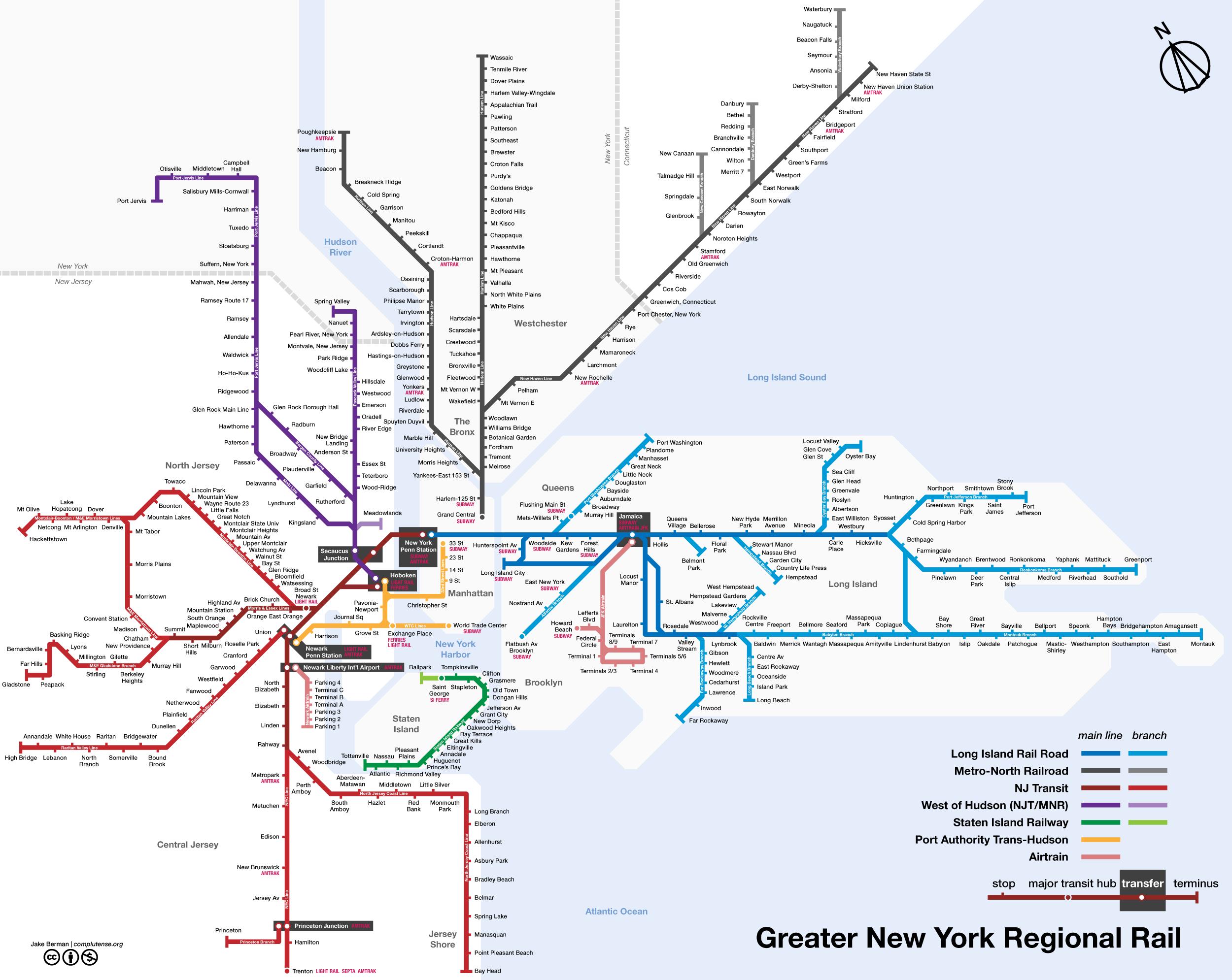 Map Of New York City Regional Rail NYC Pinterest Regional - Portugal rail map pdf