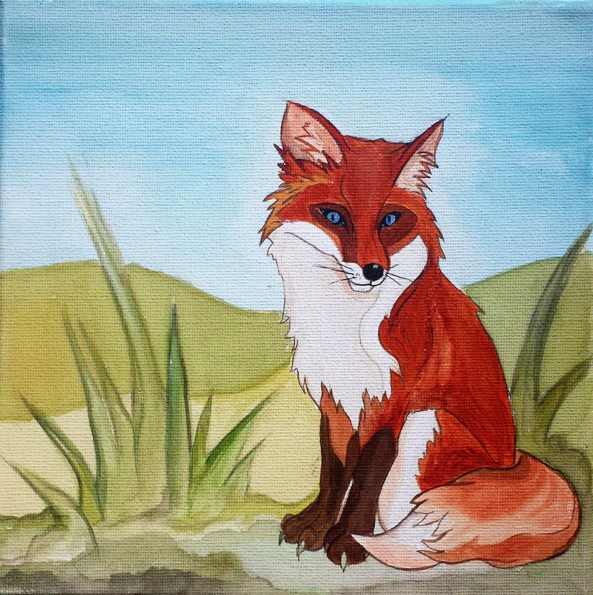 Edvard the Fox watercolour on canvas