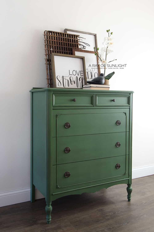 Emerald Green Painted Dresser How To Paint With Milk Paint Green Painted Furniture Painted Dresser Green Dresser [ 1500 x 1000 Pixel ]