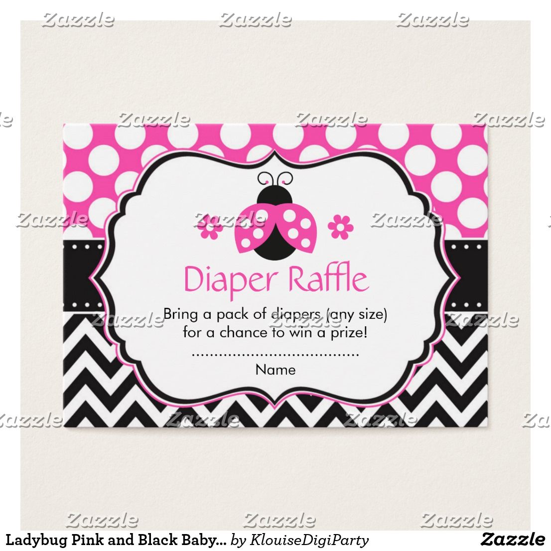 Ladybug Pink and Black Baby Shower Diaper Raffle Business Card ...