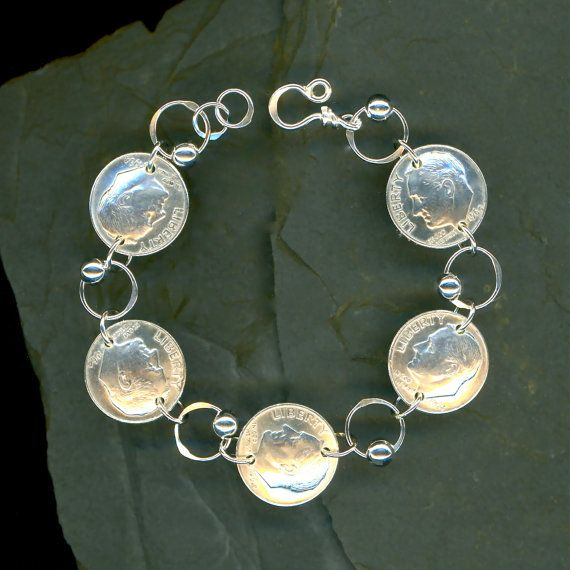 1964 Silver Dime Coin Beaded Bracelet 50th Anniversary