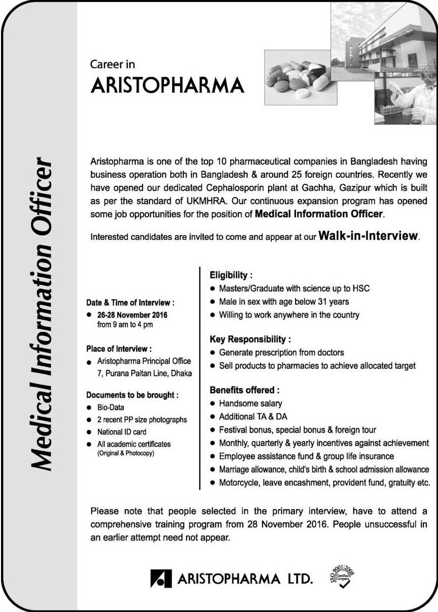 Aristopharma Ltd Job Circular Job circular, Sales