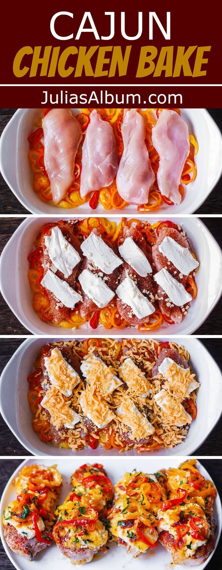 Cajun Chicken Bake with Bell Peppers, Cream Cheese, Cheddar Cajun Chicken Bake with Bell Peppers, Cream Cheese, Cheddar