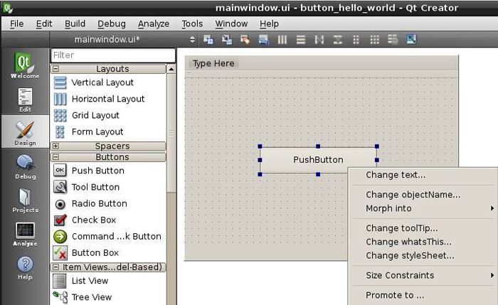 Working in Qt Creator : Drag and drop a 'Push Button' from the list