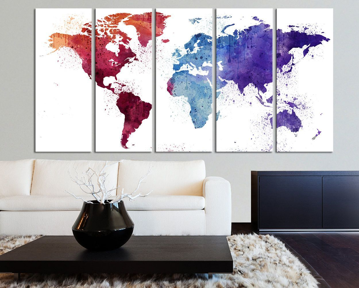 Extra large burgundy world map canvas wall art print watercolor extra large burgundy world map canvas wall art print watercolor world map 5 panel canvas gumiabroncs Gallery