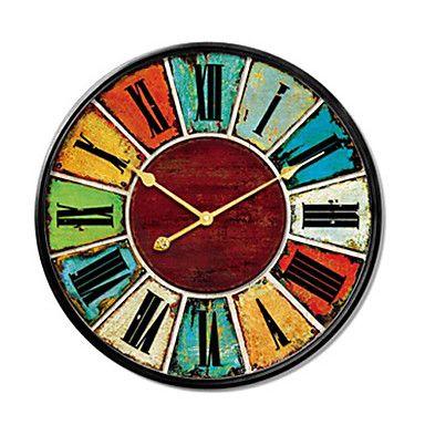 Retro Wood Round Inspirational Indoor Aa Decoration Wall Clock Analog No Large Wall Clock Wall Clock Clock