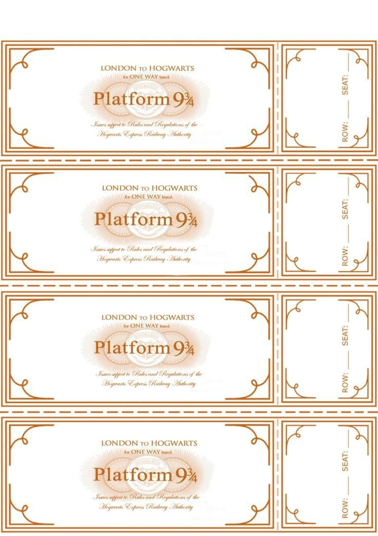 Free Harry Potter Hogwarts Express Ticket Template  Turning