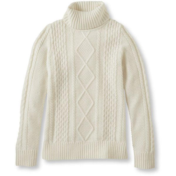 L.L.Bean Vintage Cable Turtleneck Misses Petite ($50) ❤ liked on ...