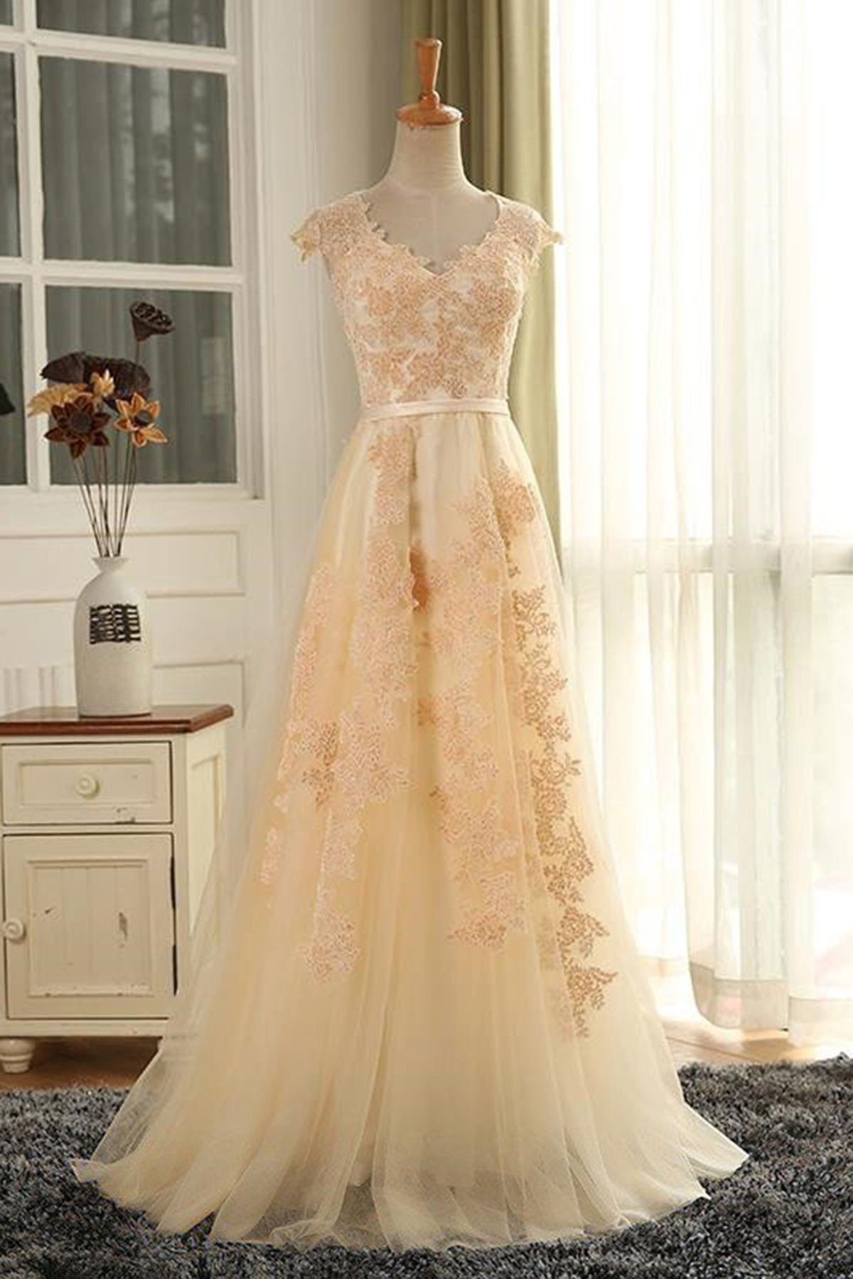 Elegant long customize senior prom dress tulle evening dress