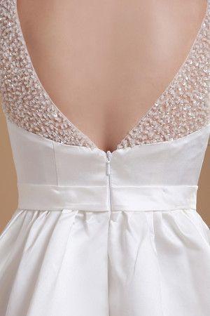 sencillo vestido de novia de corte-a de espalda descubierta de