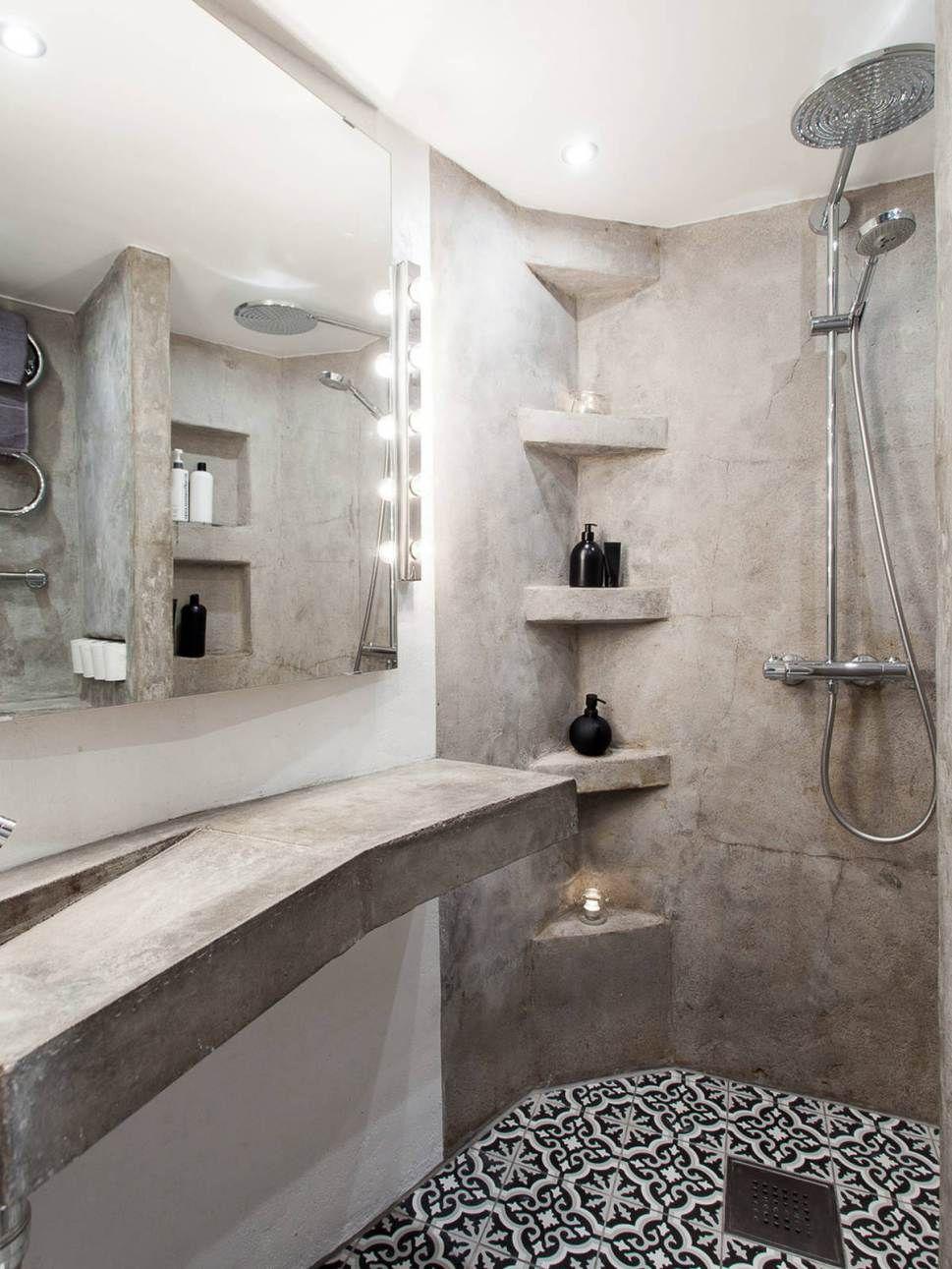 Salle de bain ciment et carreaux de ciment cement for Ciment salle de bain